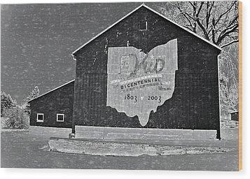 Ohio Barn In Winter Wood Print by Dan Sproul