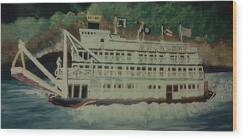 Wood Print featuring the painting Ohio Riverboat by Christy Saunders Church
