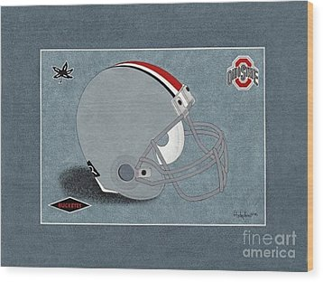 Ohio Buckeyes Helmet T-shirt  Wood Print by Herb Strobino