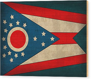 Ohio State Flag Art On Worn Canvas Wood Print by Design Turnpike