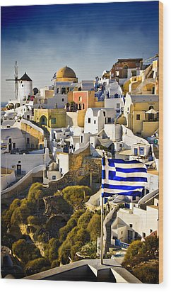 Oia And A Greek Flag Wood Print by Meirion Matthias