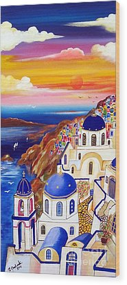 Oia Santorini Greece Wood Print