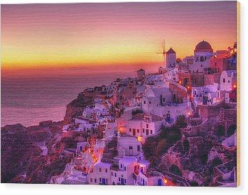 Oia Sunset Wood Print