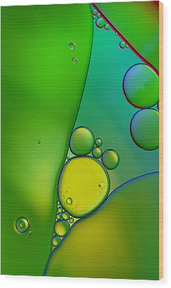 Oil And Water 9 Wood Print by Rebecca Cozart