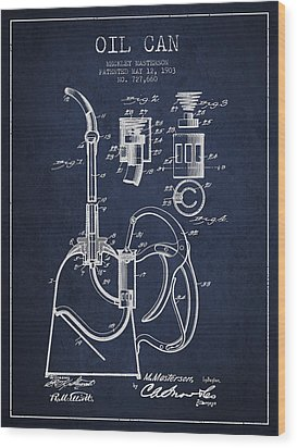 Oil Can Patent From 1903 - Navy Blue Wood Print by Aged Pixel