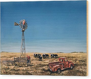 Oil Change Wood Print by Laurie Tietjen