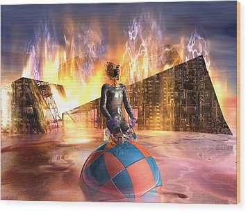 Oil Child Night Of The Fire #19_dd Wood Print by Stephen Donoho