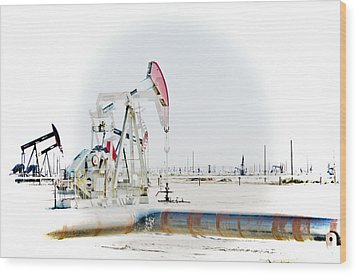 Oil Field Wood Print by Joel Loftus