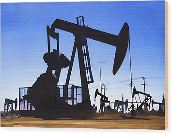 Oil Fields Wood Print