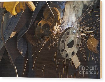 Oil Industry Pipefitter Welder Wood Print by Keith Kapple