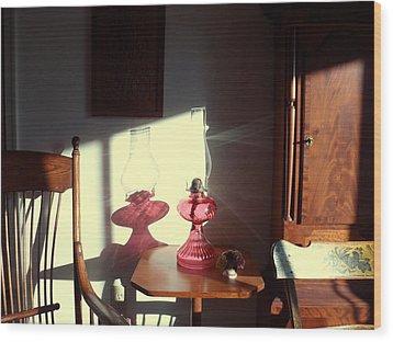 Oil Lamp Reflections Wood Print by Gordon Maull