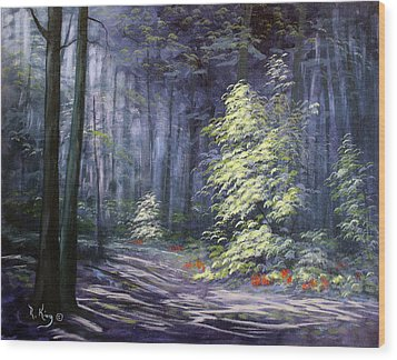 Wood Print featuring the painting Oil Painting - Forest Light by Roena King