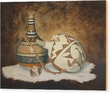 Wood Print featuring the painting Oil Painting - Indian Pots by Roena King