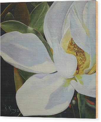 Wood Print featuring the painting Oil Painting - Sydney's Magnolia by Roena King