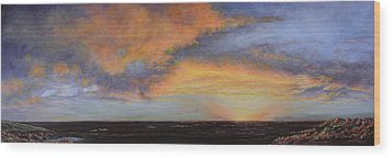Oil Painting When The Sky Turns Color Wood Print