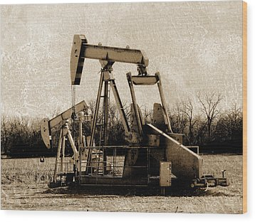 Oil Pump Jack In Sepia Wood Print
