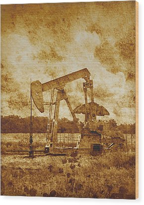 Oil Pump Jack In Sepia Two Wood Print