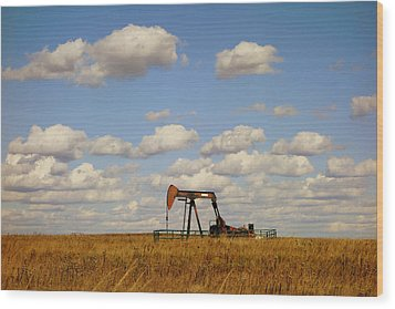 Oil Pump Jack On The Prairie Wood Print