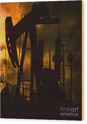 Oil Pumps - Vertical Wood Print by Wingsdomain Art and Photography
