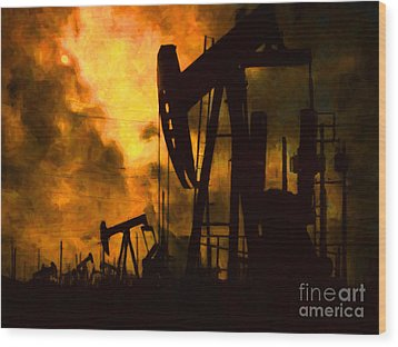 Oil Pumps Wood Print by Wingsdomain Art and Photography