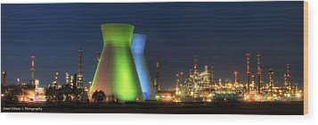 Oil Refineries Panoramic View Wood Print by Isaac Silman
