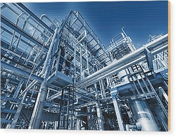 Oil Refinery And Pipelines Construction Wood Print