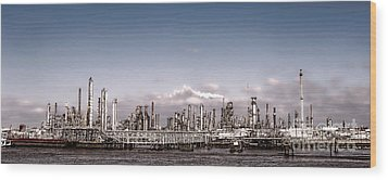 Oil Refinery Wood Print by Olivier Le Queinec