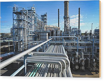 Oil Refinery Overall View Wood Print