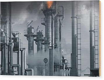 Oil Refinery Power And Energy Wood Print