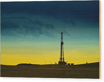Oil Rig In The Spring Wood Print