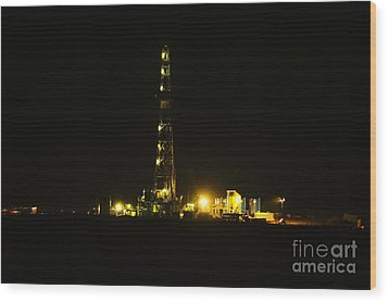 Oil Rig Wood Print by Jeff Swan