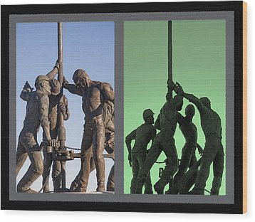 Oil Rig Workers Diptych Wood Print by Steve Ohlsen