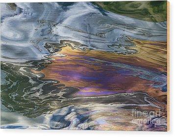 Oil Slick Abstract Wood Print by Sheldon Kralstein