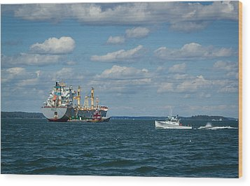 Wood Print featuring the photograph Oil Tanker And Lobster Boat by Jane Luxton