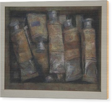 Oil Tubes Wood Print by Paez  Antonio