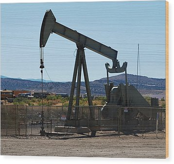 Oil Well  Pumper Wood Print by Dany Lison