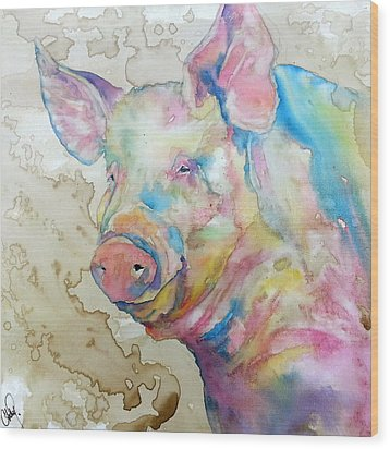 Wood Print featuring the painting Oink by Christy  Freeman