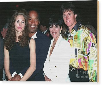 O.j. Simpson - Paula Barbieri - Kris And Bruce Jenner Party In Palm Springs Wood Print by Gary Kaplan