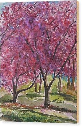 Okame Cherries Wood Print by John Williams