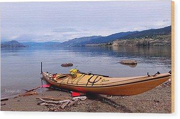 Wood Print featuring the photograph Okanagan Lake - Kayaking by Guy Hoffman