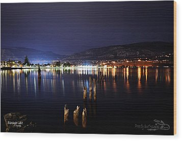 Okanagan Lake At Night Wood Print by Guy Hoffman