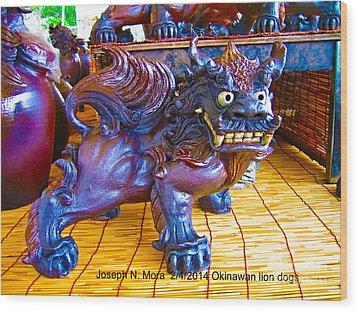 Okinawan Lion Dogs Wood Print