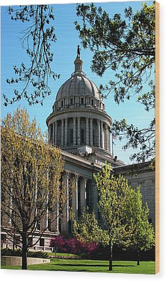 Oklahoma City Capitol In The Spring Wood Print by Toni Hopper