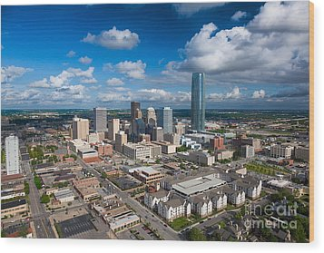 Oklahoma City Wood Print by Cooper Ross