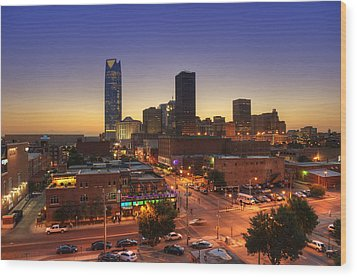 Oklahoma City Nights Wood Print