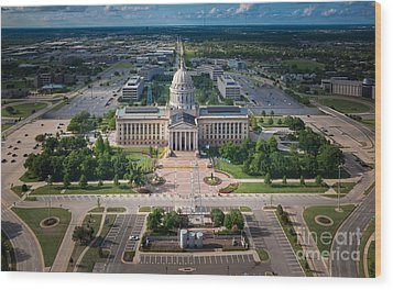 Oklahoma City State Capitol Building A Wood Print by Cooper Ross