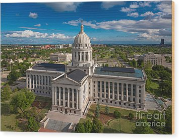 Oklahoma City State Capitol Building C Wood Print by Cooper Ross