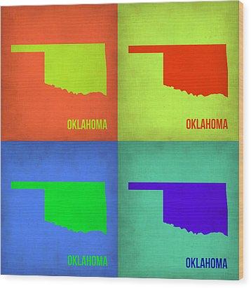 Oklahoma Pop Art Map 1 Wood Print by Naxart Studio