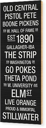 Oklahoma State College Town Wall Art Wood Print by Replay Photos