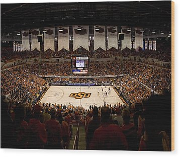 Oklahoma State Cowboys Gallagher-iba Arena Wood Print by Replay Photos